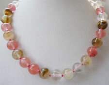 10mm Natural Multicolor Watermelon Tourmaline Round Bead Necklace 18'' JN904