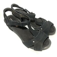 Merrell Womens Revalli Link Black Suede Wedge Sandals T Strap Slingback Size 8