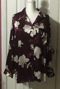 Secret Treasures Pajama Top Size 1XL Satin Burgundy Floral