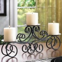"Tuscan Scroll Candelabra Large 17"" Long Pillar Candle Holder Table Centerpiece"