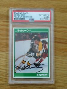 Bay Bank BOBBY ORR signed BOSTON BRUINS Career Statistics Card #3 PSA 84270464