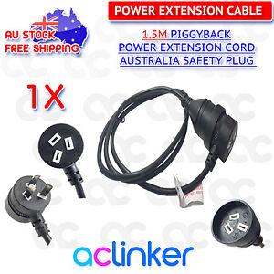 Piggyback Mains Power Extension Cord Australian 240V Power Lead AU 3-Pin Black
