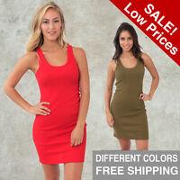 Women Rib TANK DRESS mini Royal Apparel S M L XL 2X Alternative American Top