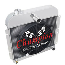 """3 Row Performance Champion Radiator W/ 14"""" Fan for 1941 - 1952 Plymouth Cars"""