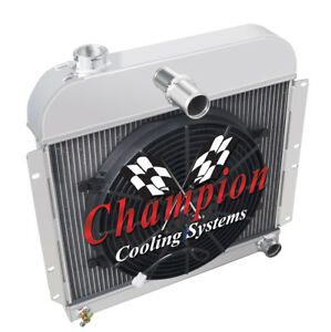 """3 Row Ace Champion Radiator W/ 14"""" Fan for 1941 - 1952 Plymouth Cars"""