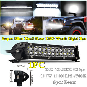 Super Slim 7in 100W 20LEDs Work Light Bar Spot Beam Car Offroad Driving Fog Lamp