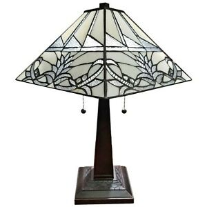 "Tiffany Style Mission Table Lamp White Floral Stained Glass Zinc Base 22"" Tall"