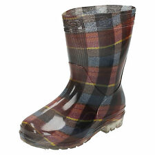 Wholesale Children's Tartan Print Wellington Boots 16 Pairs Sizes 12-3  X1188