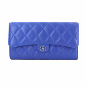 CHANEL Matelasse Long Wallet Leather Blue A80758 Coco Logos Purse 90125972