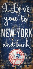 """New York Yankees I love you to NY and Back Wood Sign - NEW 6"""" x 12"""" Wall Decor"""