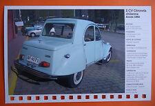 CARTE FICHE CITROEN 2 CV CITRONETA CHILIENNE ANNEE 1960