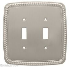 Double Light Switch Cover ROPE Wall Plate SATIN NICKEL Brainerd 126420