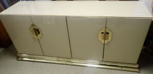 Mid-Century-Modern Lacquer & Brass High-End Asian Inspired Buffet Side Cabinet