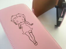 HTC ONE M9 BETTY BOOP GENUINE LEATHER pink flip phone case cover skin