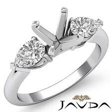 Genuine Diamond Engagement 3 Stone Ring 14k White Gold Pear Round Mount 0.5Ct