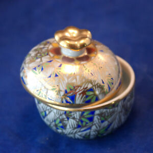 Beautiful Porcelain Trinket Box Hand Decorated In Blue And Gold  6 x 6 Cm. Wide