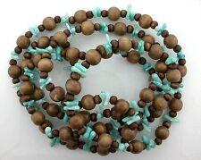 Wood & Blue Coral Bead 48 Inch Strand Gem Stone Gemstone