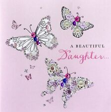 Beautiful Daughter Birthday Buttoned Up Greeting Card Button Embellished Cards
