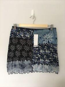 URBAN OUTFITTERS Blue Mesh Mini Skirt Sun Celestial Large BNWT UK 12-14