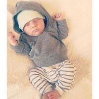 2PCS Newborn Baby Boy Girl Hooded Tops Shirt+Pants Legging Outfit Clothes Set UK