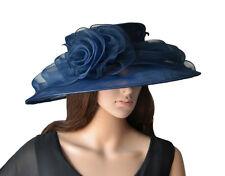 élégant chapeau pour femmes bleu marine foncé organza de mariée en Mariage
