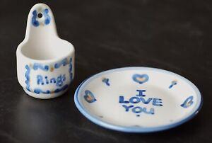 "MA Hadley Pottery Pieces  4-1/4"" I Love You Trinket Dish & Rings Wall Pocket"