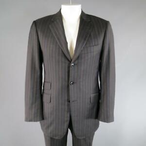 PAL ZILERI US 40 R / IT 50 Charcoal Striped Wool 3 Button Notch Lapel Suit