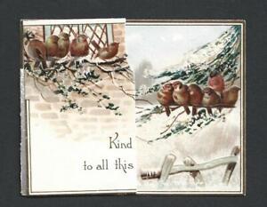 Y15 - BIRDS - MISCH & Co - DIECUT FOLDING STANDING GLITTERED VICTORIAN XMAS CARD