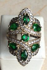 Turkish 925 Sterling Silver Handmade Topaz Emerald GEMSTONE Ring Size 9