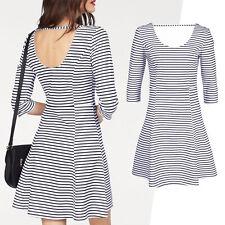 Kleid Gr.34/36 Jerseykleid Shirtkleid weiß blau maritim Cannes gestreift Stretch