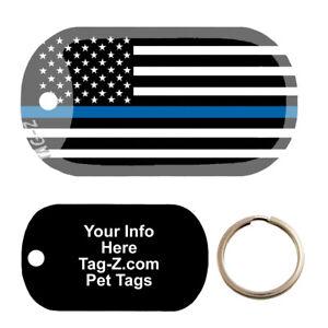 BLUE LINE FLAG - CUSTOMIZED - PET TAG - MILITARY SHAPE - TAG-Z DOG TAGS