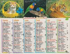 CALENDRIER ALMANACH des postes PTT 1991 chaton, perruches et tigre