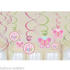 12 Piccolo Rosa WELCOME Baby Girl Shower party da appendere ritaglio SWIRLS DECORAZIONI