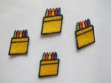 #3878 Lot 4 Pcs Crayon Box Embroidery Iron On Applique Patch