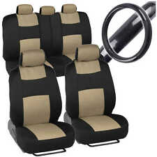 Sporty Full Set Beige Car Seat Covers W/ Black Carbon Fab Steering Wheel Cover