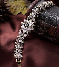 Bracelet Fleur Cristal Brillant Retro Ancien Vintage Class Mariage CT3