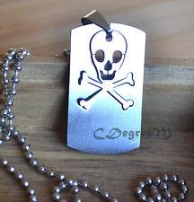 361L Stainless Steel Skull Skeleton Men Women Pendant Chain Necklace Unisex