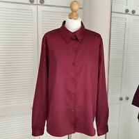 Liz Claiborne Villager Purple Blouse Size XL Button-Up Collared Party Shimmer
