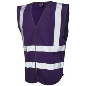 Purple Unisex Hi Viz High Vis Safety Vest Leo Workwear Pilton Vest