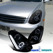 For 2005-2006 G35 4D Sedan Smoke Halo LED DRL Projector Headlights Glossy Black