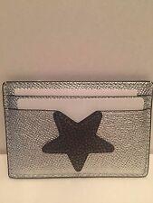 COACH  Star Flat Card Case IN Metallic Leather  Silver F24184-NWT