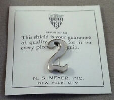 Vintage Military Bright Silver Numeral 2 - Pinback