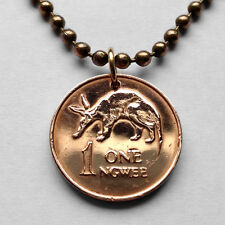 1983 Zambia 1 Ngwee coin pendant cute aardvark African anteater Lusaka n000212