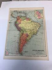 Antique 1930 Map: South America Political 90 Years Old Original  Vintage Print