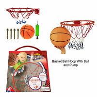 Kids Outdoor 12.75 inch Metal Basketball Hoop Net With Ball and Pump Set Game