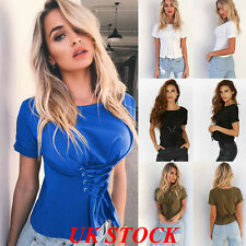 UK Women Short Sleeve Summer T Shirt Tops Ladies Casual Waist Lace Up Blouse Top