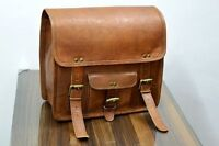 New 1 Side Pouch Brown Leather Motorcycle Pouch Saddlebags Saddle Bag Panniers