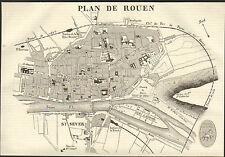76 ROUEN PLAN DE LA VILLE GRAVURE ENGRAVING IMAGE 1850