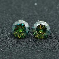 Loose Moissanite Cyan Blue Green Color Round Cut Diamond 6.5mm 1CT certificate