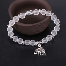 Tibet Silver Natural Stone Beads Elephant Pendant Handmade Elastic Yoga Bracelet